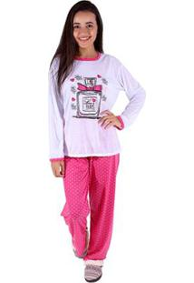 Pijama Linha Noite De Malha Feminino Longo - Feminino-Pink