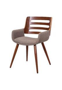 Cadeira Lica Linho Marrom Mesclado Estrutura Castanho 77Cm - 62872 Marrom