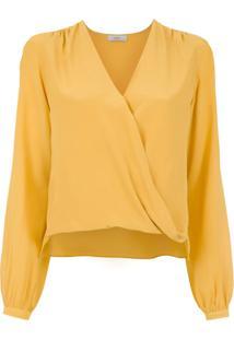 Egrey Blusa De Seda Transpassada - Amarelo