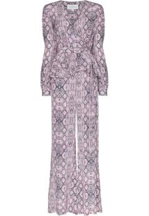 Les Reveries Snake Print Silk Jumpsuit - Rosa