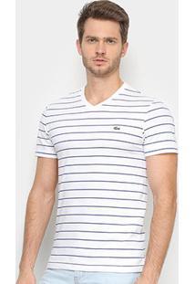 Camiseta Lacoste Básica Listras Masculina - Masculino-Branco