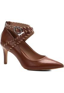 Scarpin Couro Shoestock Salto Alto Nomade Crafts - Feminino-Caramelo