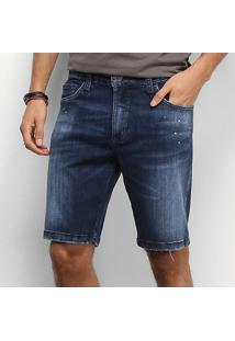 Bermuda Jeans Colcci Estonada Respingos Barra Desfiada Masculina - Masculino-Azul