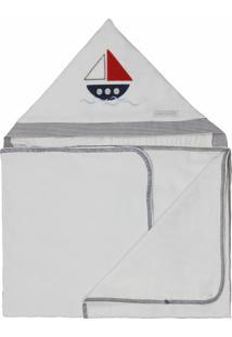 Toalha De Banho Malha Naval Minha Casa Baby Marinho E Branco