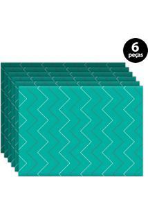 Kit 6Pçs Jogo Americano Mdecor Abstrato 40X28Cm Azul