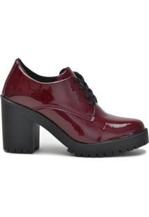 Sapato Ferrarelo Verniz Oxford Feminino - Feminino-Vinho