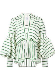 Rosie Assoulin Blusa Listrada Mangas Longas - Verde