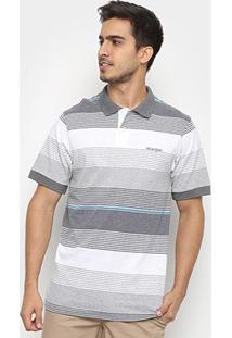 Camisas Polo Wrangler Estampa Listrada Masculina - Masculino-Branco+Cinza