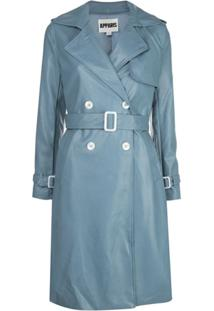 Apparis Faux Leather Trench Coat - Azul
