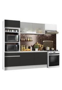 Cozinha Completa Madesa Topazio Com Armário, Balcão E Tampo Branco/Preto/Branco