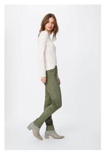 Calça Skinny Suede Verde Militar - Pp