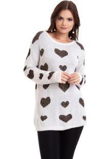 Suéter Kinara Pelinho Coração Feminino - Feminino-Branco