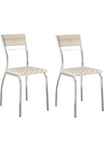 Kit 2 Cadeiras 1721 Retrô/Cromado - Carraro Móveis