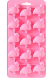 Forma De Gelo Flamingo Silicone Rosa 21X11Cm - 30265