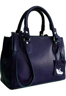 Bolsa Line Store Leather Clássica Couro Azul Marinho. - Kanui