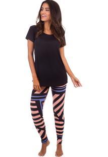 Pijama Longo Inspirate Abstract Com Calça Legging