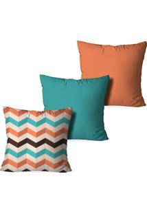 Kit 3 Capas Love Decor Para Almofadas Decorativas Geometrico Multicolorido Laranja - Kanui