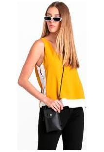 Regata Wool Line Bicolor - Feminino-Amarelo+Branco