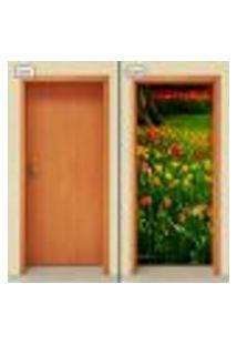 Adesivo Decorativo De Porta - Campo De Flores - 1551Cnpt