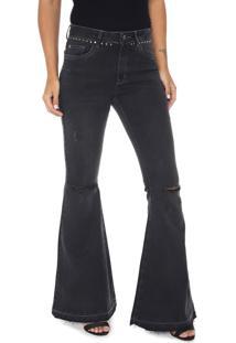 Calça Jeans Lez A Lez Flare Malibu Preta