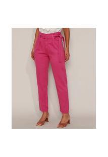 Calça De Sarja Feminina Mom Clochard Cintura Super Alta Com Faixa Para Amarrar Rosa Escuro