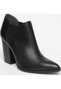 Ankle Boot Em Couro Texturizado - Preta- Salto: 9,5Jorge Bischoff