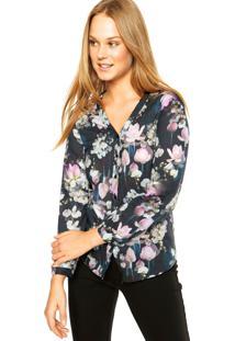 Camisa Malwee Floral Preta