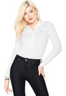 Camisa Polo Lacoste Logo Branca