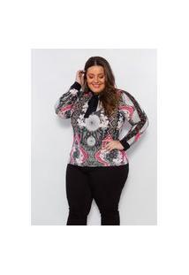 Blusa Plus Size Feminina Claubitex Estampada Rosa Com Renda