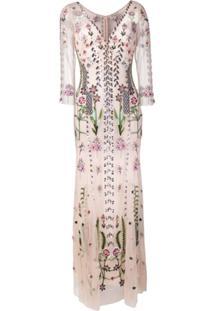 Temperley London Vestido Longo Com Bordado Floral - Rosa
