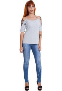 Blusa Versani Ombros Vazado Feminina - Feminino-Cinza