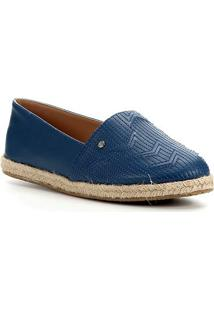 Sapatilha Shoestock Flat Corda Couro Matelasse - Feminino-Azul