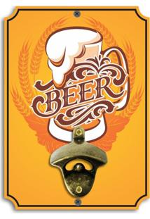 Abridor De Garrafas De Parede Beer Amarelo Único