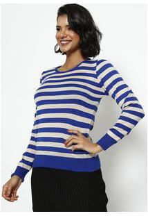Ponto Aguiar Blusa Em Tricot Listrada Azul & Bege