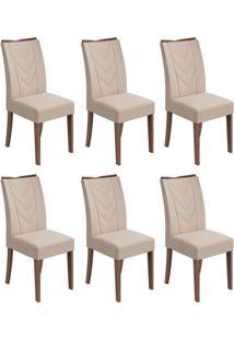 Conjunto Com 6 Cadeiras Atacama Lll Imbuia E Bege