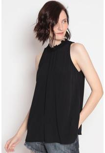 Blusa Texturizada Com Elã¡Stico- Preta- Colccicolcci