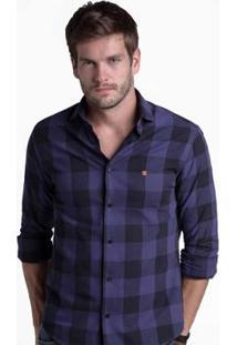 Camisa Buckman Casual Xadrez Masculina - Masculino-Marinho
