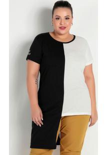 Blusa Preta E Off White Assimétrica Plus Size