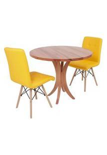 Conjunto Mesa De Jantar Tampo De Madeira 90Cm Com 2 Cadeiras Gomos - Amarelo