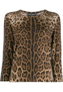 Dolce & Gabbana Suéter Com Padronagem Animal Print - Marrom