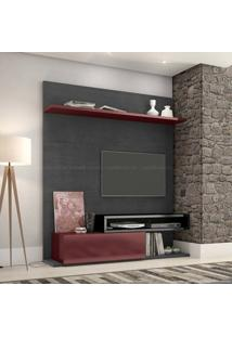 Estante Home Theater Para Tv Até 60 Polegadas 1 Porta Basculante Qn790 100% Mdf 182 X 180 X 40 Preto Silk/Bordô/Preta - Quiditá