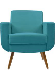 Poltrona Decorativa Kasa Sofá Cristal Suede Azul