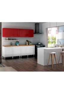 Cozinha Compacta Play 6 Pt 3 Gv Branca E Vermelha