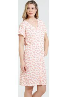 Robe Feminino Manga Curta Estampa Floral Marisa