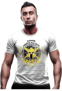 Camiseta Team Six Militar Molon Labe Estampa Dourada Branco