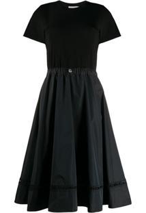 Moncler Vestido Reto Com Cordão De Ajuste - Preto