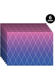Jogo Americano Mdecore Geométrico 40X28Cm Rosa 6Pçs