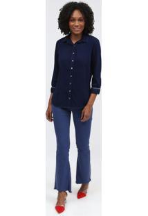 Camisa Com Recortes Tranã§Ados - Azul Escuroscalon