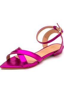 Sandália Rasteira Aberta Tiras Em Rosa Pink Metalizado