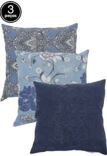 Kit 3 Capas De Almofadas 43X43 Summer Arabesco Azul, Summer Magnolia Azul E Summer Floral Liso Azul